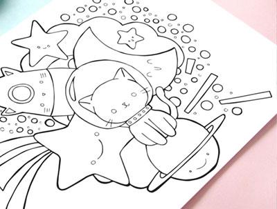 astrocat. Página para colorear