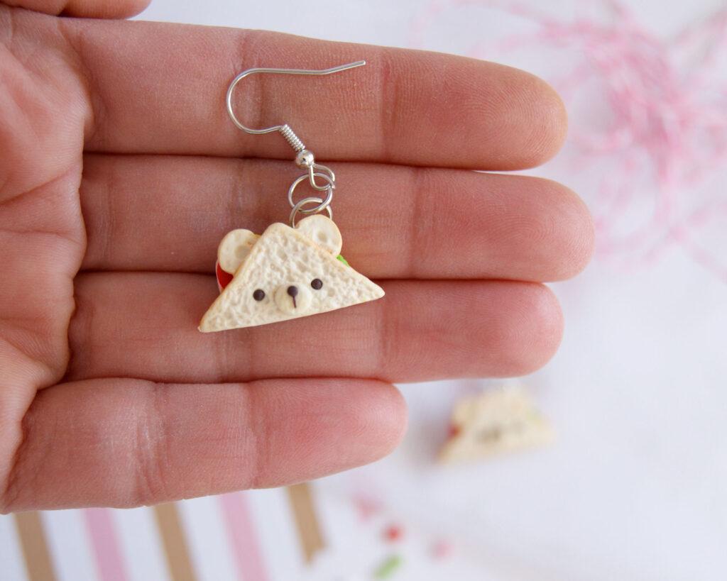 Bear sandwich earrings